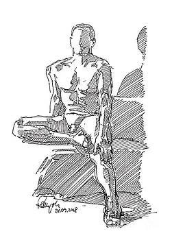 Frank Ramspott - Male Figure Drawing Sitting Pose Fountain Pen Ink