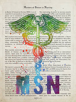 Masters of Sience in Nursing Gift Idea With Caduceus Illustratio by Aged Pixel