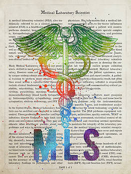 Medical Laboratory Scientist Gift Idea With Caduceus Illustratio by Aged Pixel
