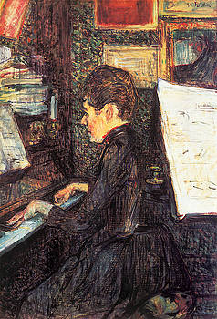 Mille. Dihau Playing the Piano - 1890 - Musee Toulouse-Lautrec - Albi - Painting oil on canvas by Henri de Toulouse-Lautrec