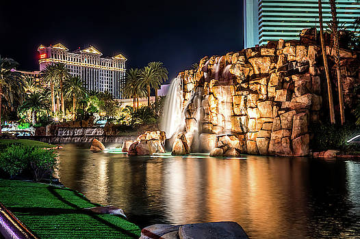 Mirage Hotel Casino Volcano Fountain At Night by Alex Grichenko
