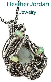 Natural Aquamarine Wire-Wrapped Pendant in Antiqued Sterling Silver with Ethiopian Welo Opals by Heather Jordan