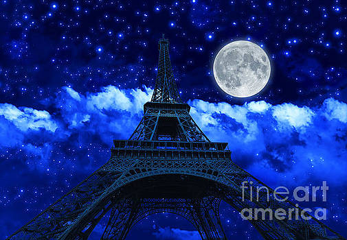 night sky and Eiffel Tower by Benny Marty