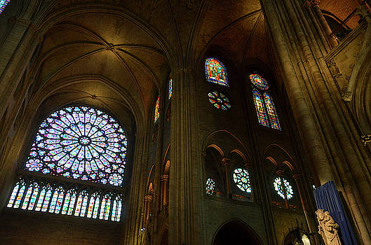 RicardMN Photography - Nord rose window, vaults and stained glass windows in Notre Dame before the fire of 2019