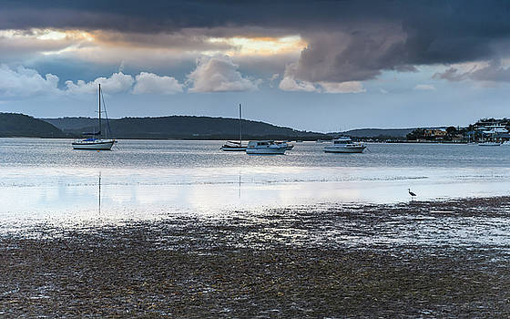 Overcast Clouds and Boats on the Bay by Merrillie Redden