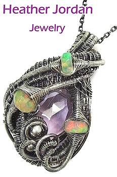 Pink Amethyst Wire-Wrapped Pendant in Antiqued Sterling Silver with Ethiopian Welo Opals by Heather Jordan