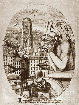 California Views Archives Mr Pat Hathaway Archives - Print of Etching Gargoyle of Nortre-Dame Le Stryge 1853 by Charl