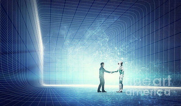 Robot and businessman shaking hands on modern tech background. by Michal Bednarek