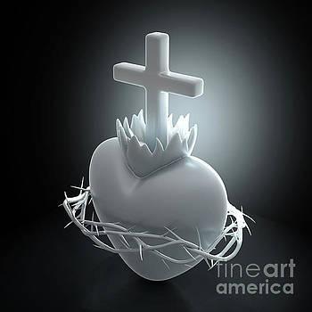 Sacred Heart of Jesus Marble by Allan Swart