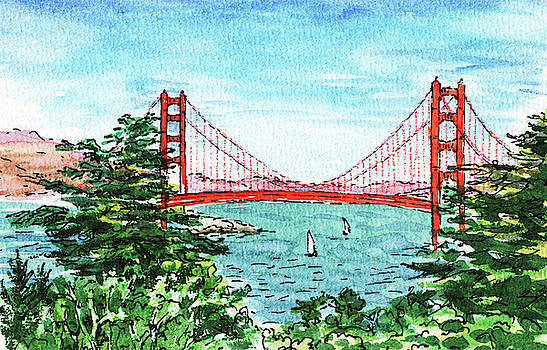 San Francisco California Golden Gate Bridge by Irina Sztukowski