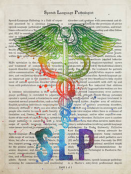 Speech Language Pathologist Gift Idea With Caduceus Illustration by Aged Pixel