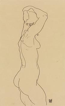 Egon Schiele - Standing Nude, Facing Right