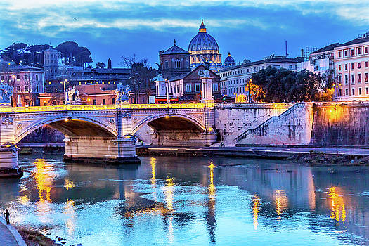 Vatican Dome And Tiber River, Ponte by William Perry