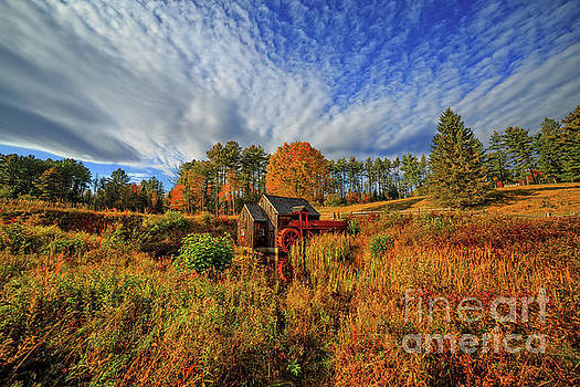 Vermont Grist Mill Panoramic Autumn Splendor by Edward Fielding