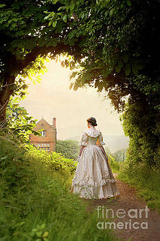 Victorian Woman Approaching A Country House by Lee Avison