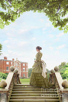 Victorian Woman Looking Towards A Mansion House by Lee Avison