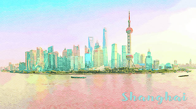 Steven Heap - Water color of skyline of the city of Shanghai at sunset