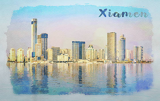 Steven Heap - Water color of skyline of the city of Xiamen with reflections