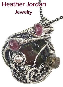 Watermelon Tourmaline Wire-Wrapped Pendant in Sterling Silver with Rubellite Tourmaline by Heather Jordan