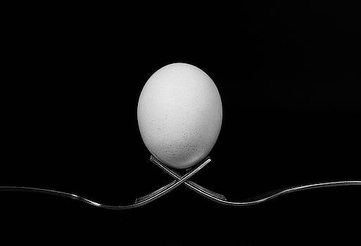 White egg  resting on two metal and shiny forks on a black backg by Michalakis Ppalis
