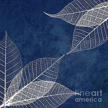 White leaves on blue by Delphimages Photo Creations