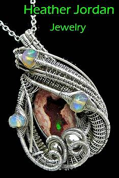Wire-Wrapped Mexican Cantera Opal Pendant in Antiqued Sterling Silver with Ethiopian Welo Opals by Heather Jordan