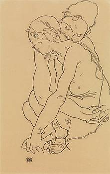 Egon Schiele - Woman and Girl Embracing