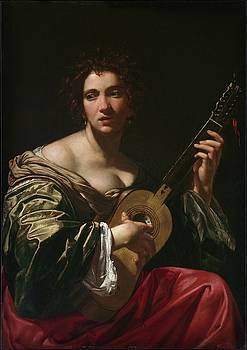Simon Vouet - Woman Playing a Guitar