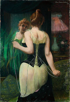 Young Woman adjusting her corset by Pierre Carrier-Belleuse