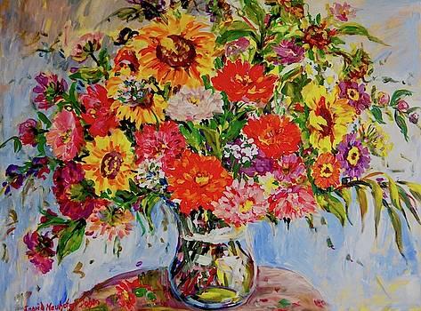 Zinnias and Sunflowers by Ingrid Dohm