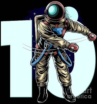 10th Birthday Boy Flossing Astronaut Ten Years Gift by Festivalshirt