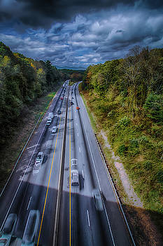 Aerial view of i-40 highway in north carolina from blue ridge pa by Alex Grichenko
