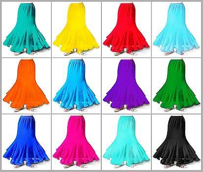 Sofia Metal Queen - 12 color variations of Ameynra chiffon mermaid skirts