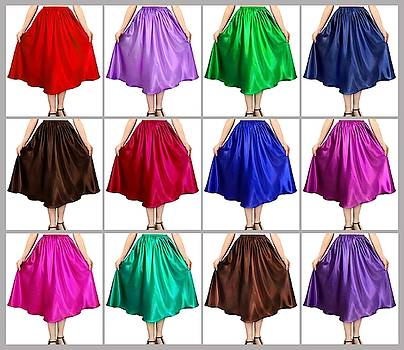 Sofia Metal Queen - 12 color variations of Ameynra satin mid-calf skirts