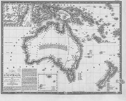 Toby McGuire - 1826 Map of Australia AU Black and White