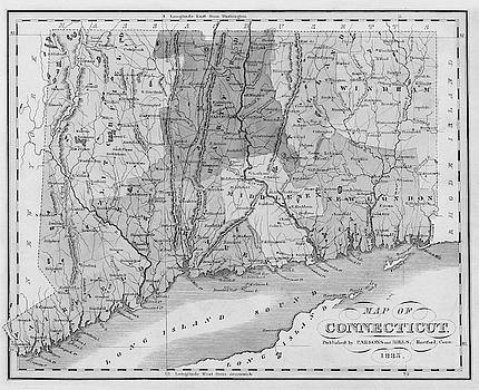 Toby McGuire - 1835 Map of Connecticut and Long Island Sound Historical Map Black and White