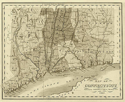 Toby McGuire - 1835 Map of Connecticut and Long Island Sound Historical Map Sepia