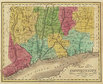 Toby McGuire - 1835 Map of Connecticut and Long Island Sound Historical Map