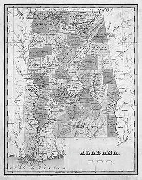 Toby McGuire - 1838 Map of Alabama Historical Map Black and White