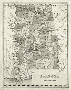 Toby McGuire - 1838 Map of Alabama Historical Map Sepia