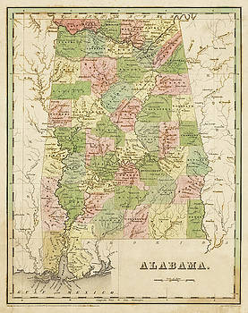 Toby McGuire - 1838 Map of Alabama Historical Map