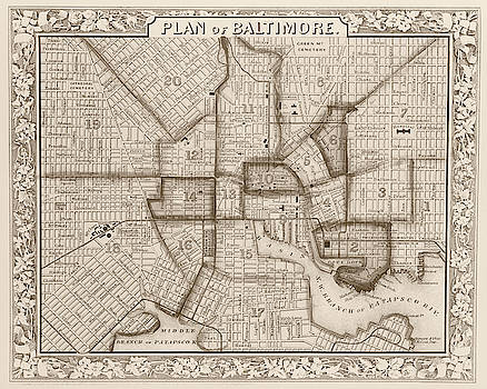 Toby McGuire - 1860 City Planner map of Baltimore Maryland Sepia