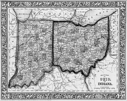 Toby McGuire - 1860 County Map of Ohio And Indiana Black and White