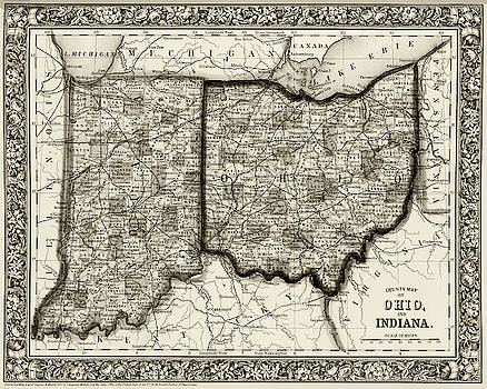 Toby McGuire - 1860 County Map of Ohio And Indiana Sepia