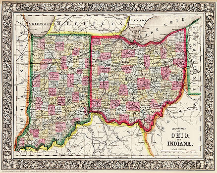 Toby McGuire - 1860 County Map of Ohio And Indiana
