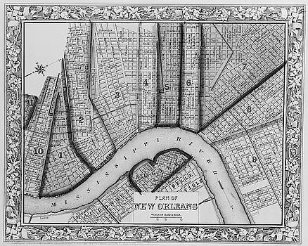 Toby McGuire - 1860 New Orleans City Plan Map Black and White