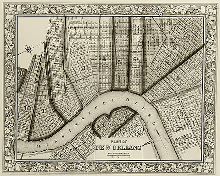 Toby McGuire - 1860 New Orleans City Plan Map Sepia