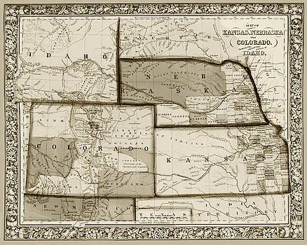 Toby McGuire - 1861 Map of Idaho Nebraska Colorado and Kansas Sepia
