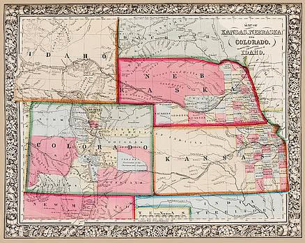 Toby McGuire - 1861 Map of Idaho Nebraska Colorado and Kansas