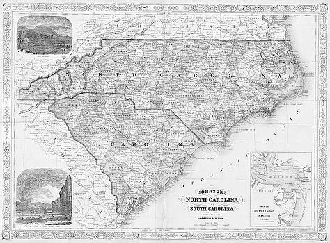Toby McGuire - 1865 map of North and South Carolina NC SC Black and White
